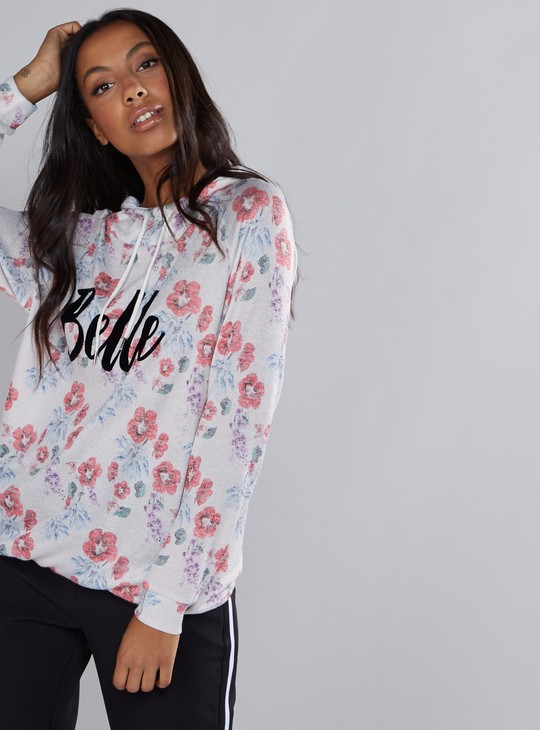 Floral Printed Knitted Top with Hood