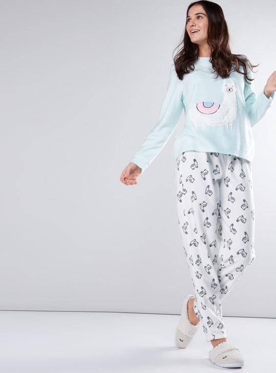 Plush Detail T-Shirt and Printed Pyjama Set