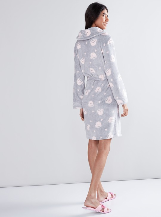 Printed Plush Robe with Long Sleeves and Pocket Detail