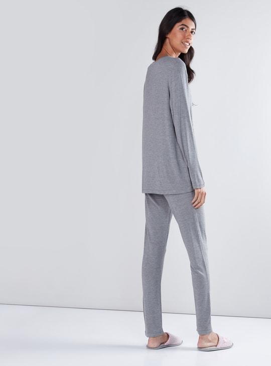 Embroidered Applique T-Shirt and Pyjama Set