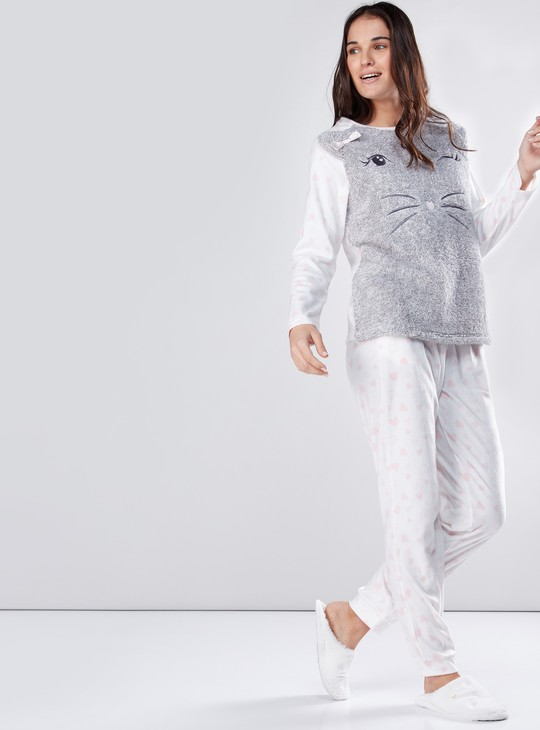 Plush T-Shirt and Printed Pyjamas Set