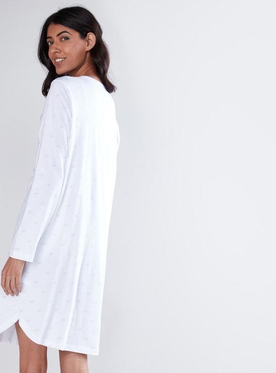 Printed Sleep Dress with Long Sleeves