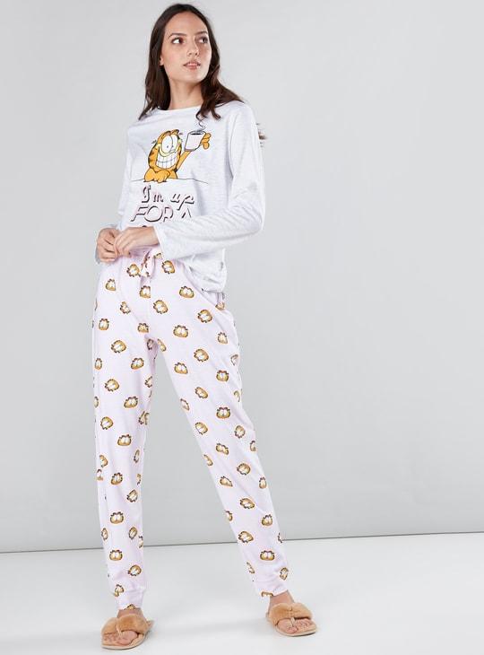 Garfield Printed Long Sleeves T-Shirt with Jog Pants
