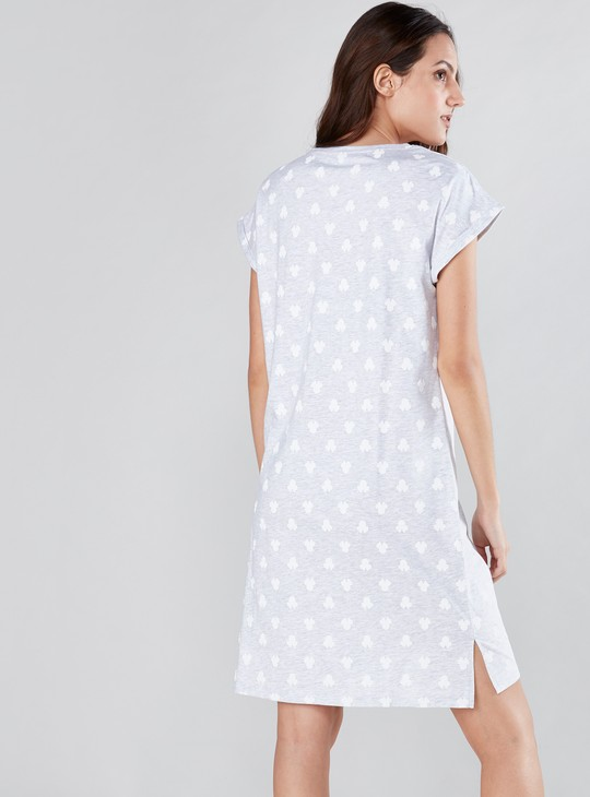 Mickey Mouse Printed Sleep Dress with Round Neck