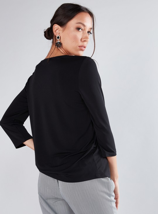 Pearl Detail Top with V-Neck and 3/4 Sleeves