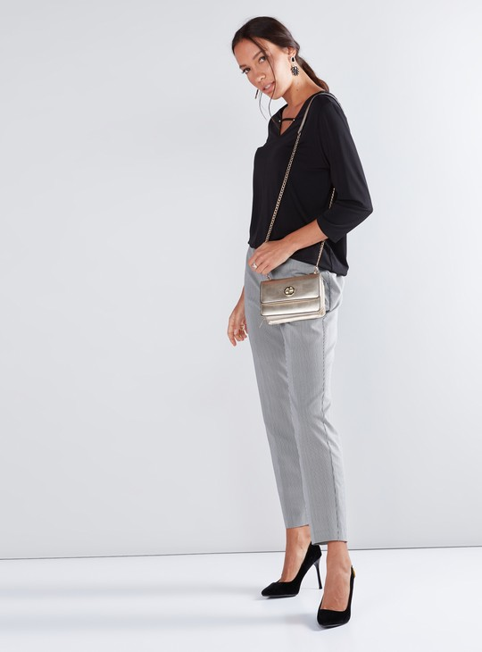 Striped Trousers with Elasticised Waistband and Pocket Detail
