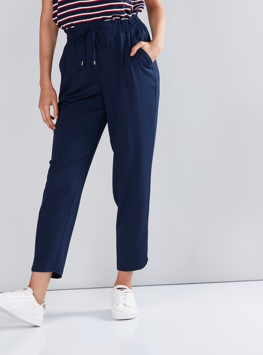 Cropped Pants with Paper Bag Waist