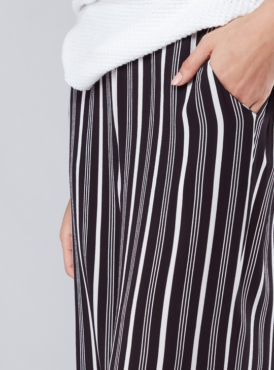 Striped Palazzo Pants with Pocket Detail