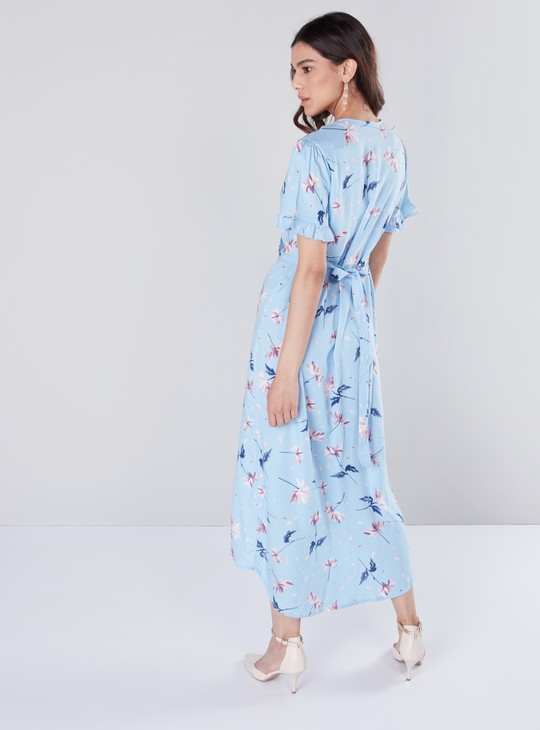 Floral Print Maxi Wrap Dress with Asymmetric Hemline and Short Sleeves