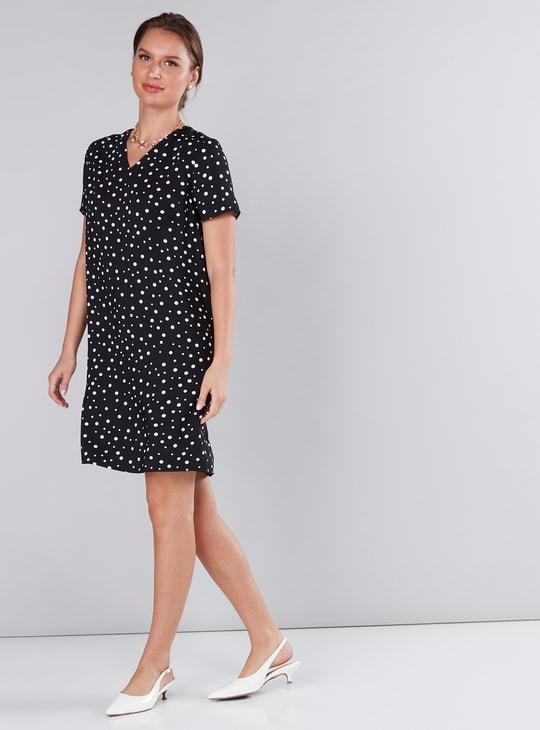 Printed V-Neck Shift Midi Dress with Short Sleeves