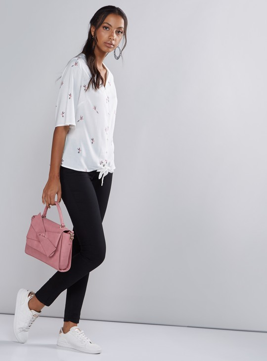 Printed Shirt with V-Neck and 3/4 Sleeves