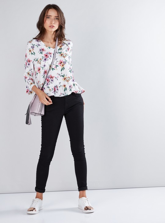 Floral Printed Peplum Shirt with 3/4 Sleeves