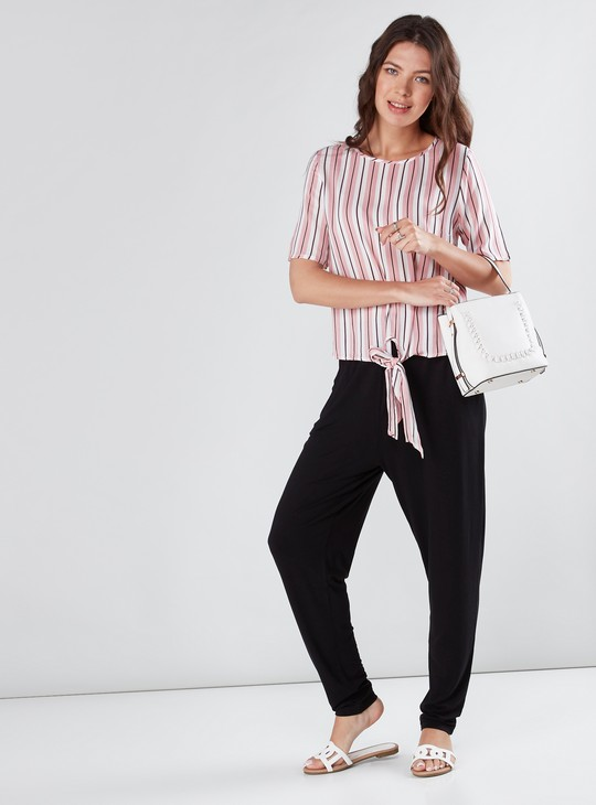 Striped Top with Front Knot Detail and Short Sleeves