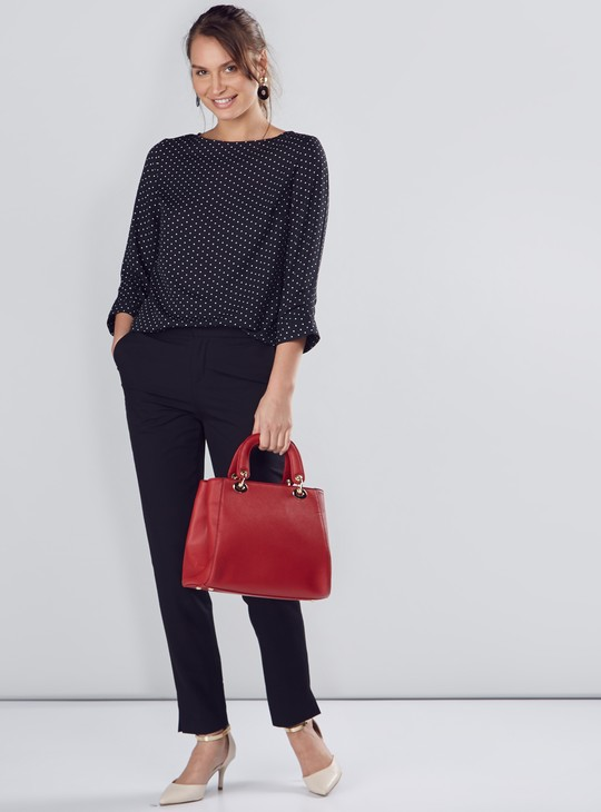 Round Neck Shell Top with Polka Dots and 3/4 Sleeves