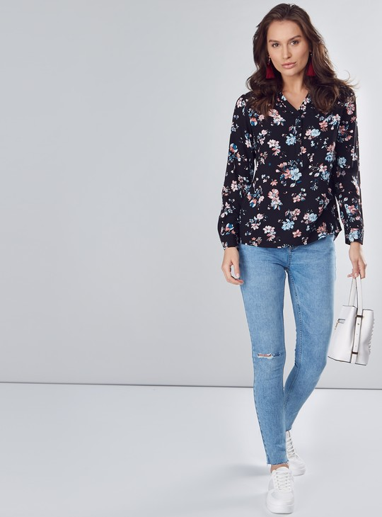 Floral Printed Top with Henley Neck and Long Sleeves