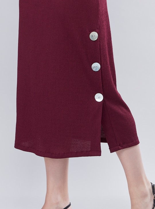 Textured Midi Shift Dress with Short Sleeves and Button Detail