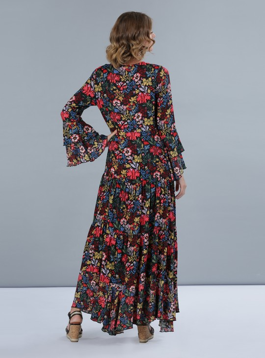 Floral Print Bell Sleeves Tiered Maxi Dress