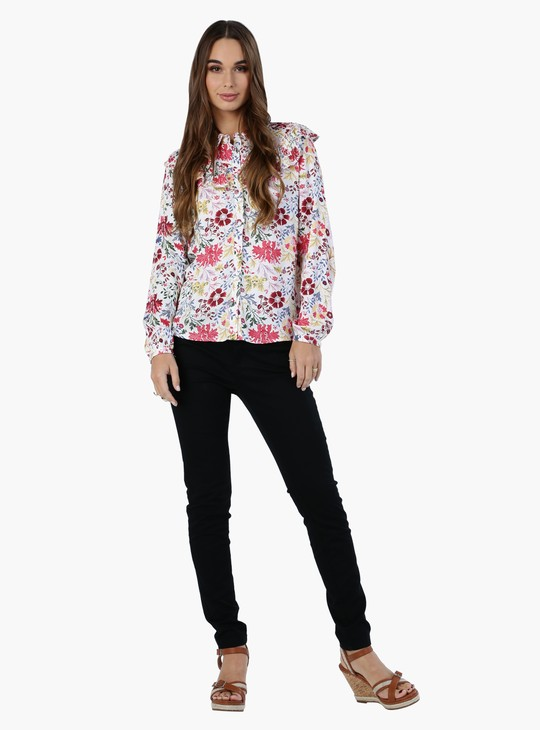 Floral Print Long Sleeves Shirt with Ruffle Yoke