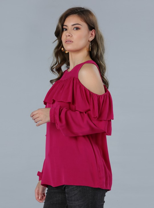 Cold Shoulder Double Layer Ruffle Long Sleeves Top