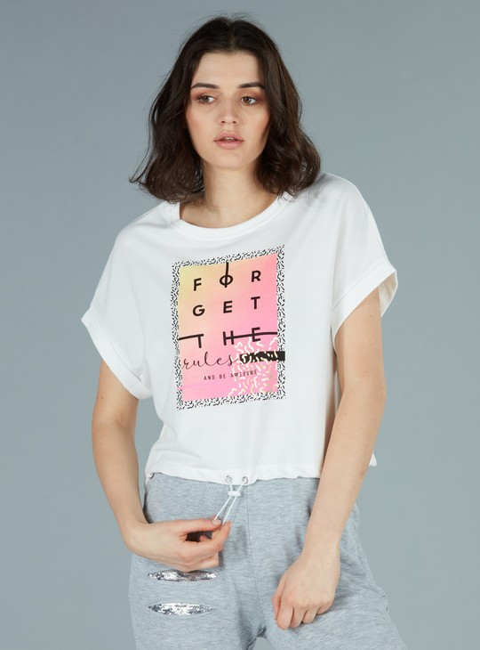 Printed Crop T-Shirt with Round Neck and Extended Sleeves
