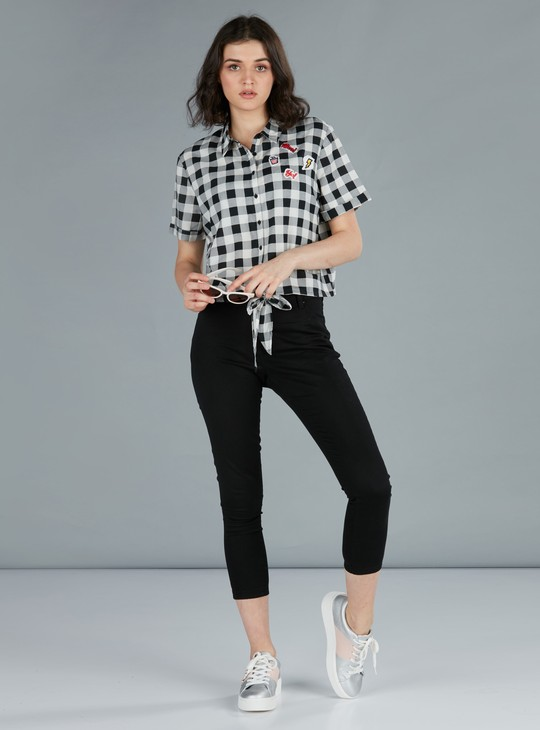 Chequered Shirt with Short Sleeves and Applique Detail