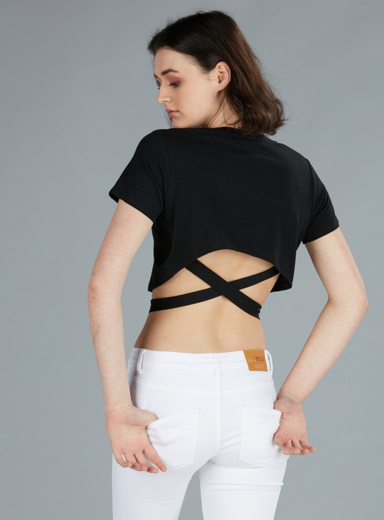 Crop Top with Short Sleeves and Tie-Up Detail