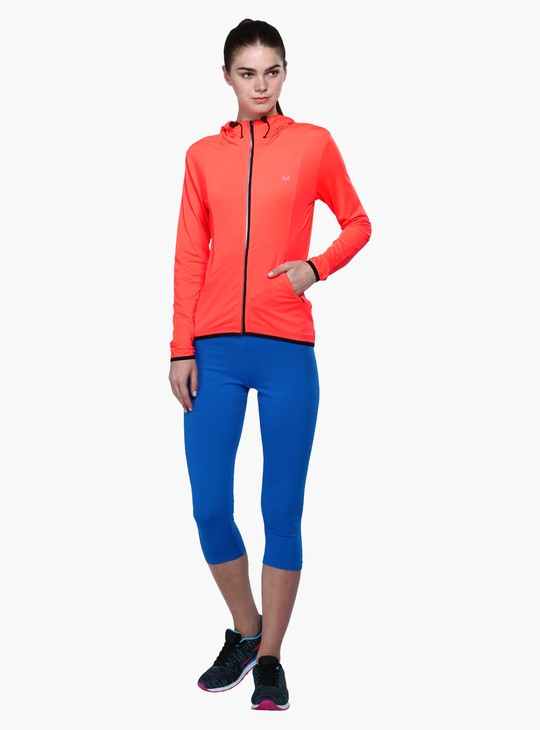 Long Sleeves Active Wear Jacket with Zip Closure