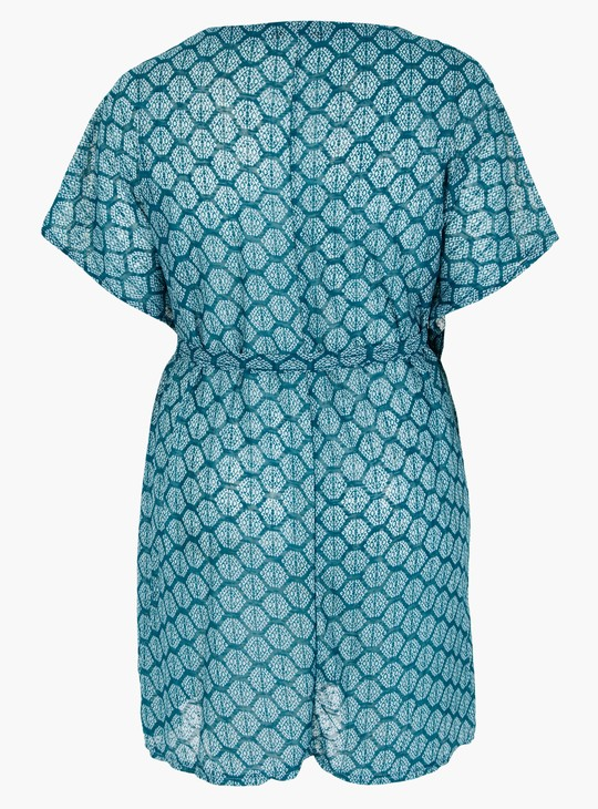 Printed V-Neck Top with Short Sleeves