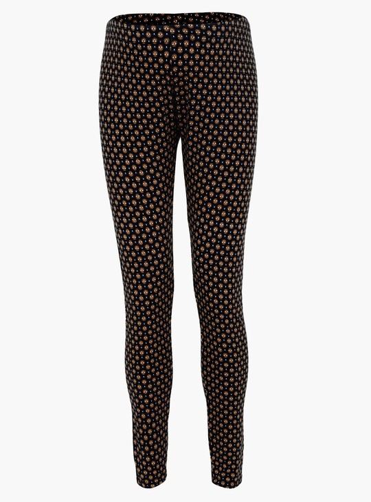 Plus Size Printed Full Length Leggings with Elasticised Waistband