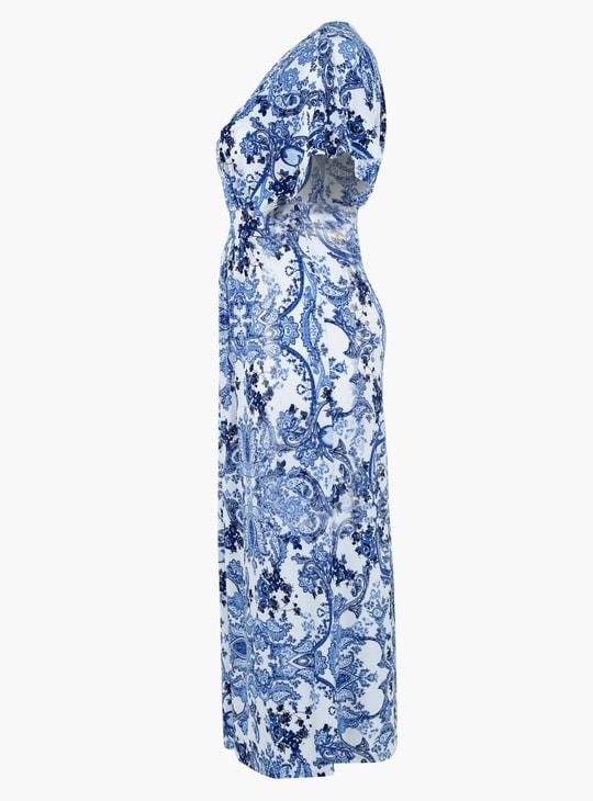فستان كيمونو طويل للحوامل بطبعات الورود