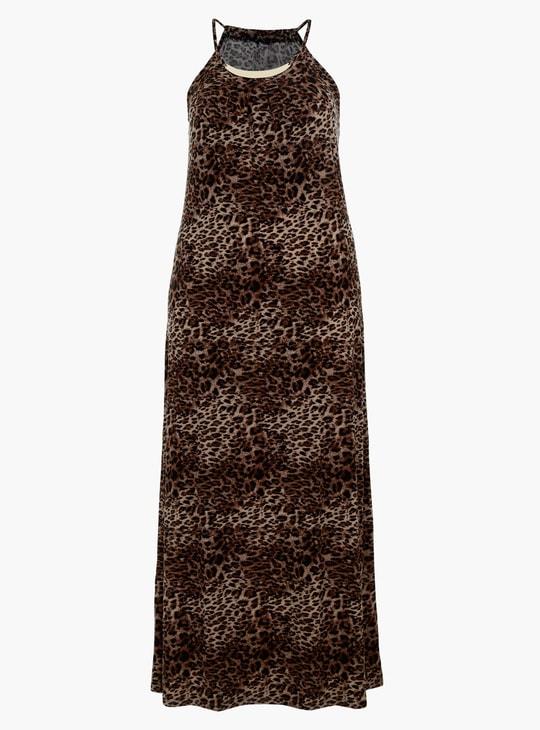 Animal Print Maxi Dress with Halter Neck