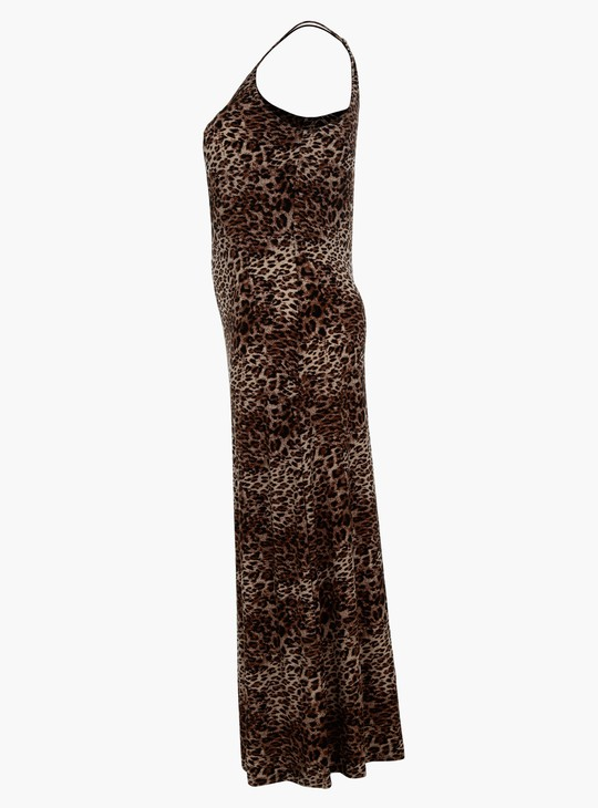 فستان ماكسي بنقش حيوان مطبوع وياقة هالتر