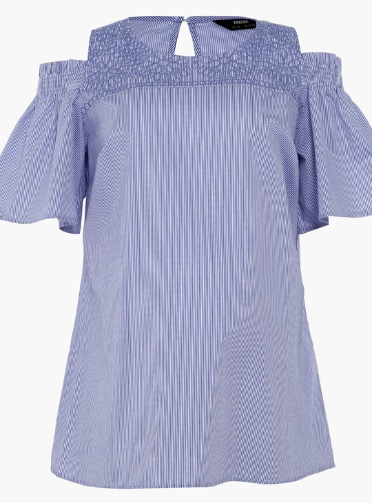 Maternity Striped Top with Cold Shoulders and Round Neck