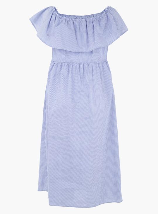 Maternity Striped Off-Shoulder Midi Dress