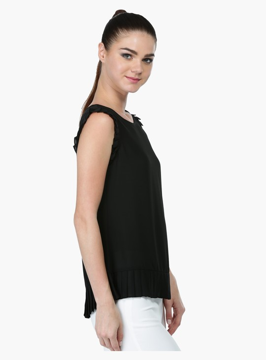 Sleeveless Ruffle Top with Round Neck