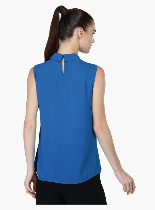Sleeveless Top with Spread Collar