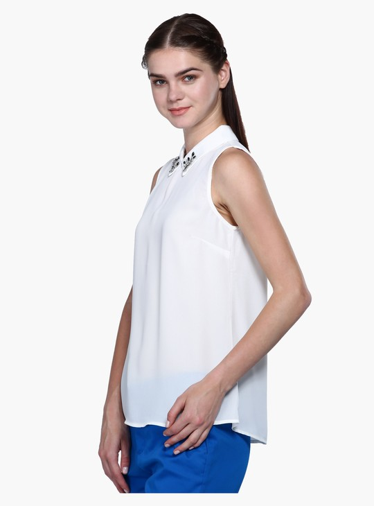 Spread Collar Sleeveless Top