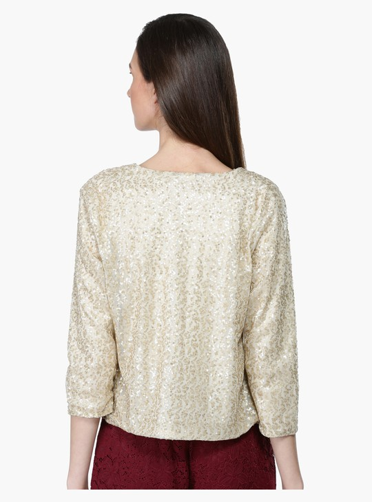 Sequin Jacket with 3/4 Sleeves