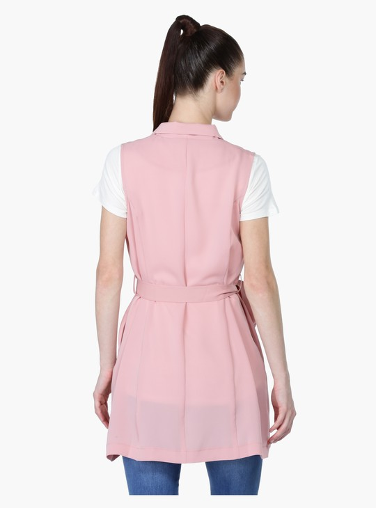 Sleeveless Longline Jacket with Tie Up