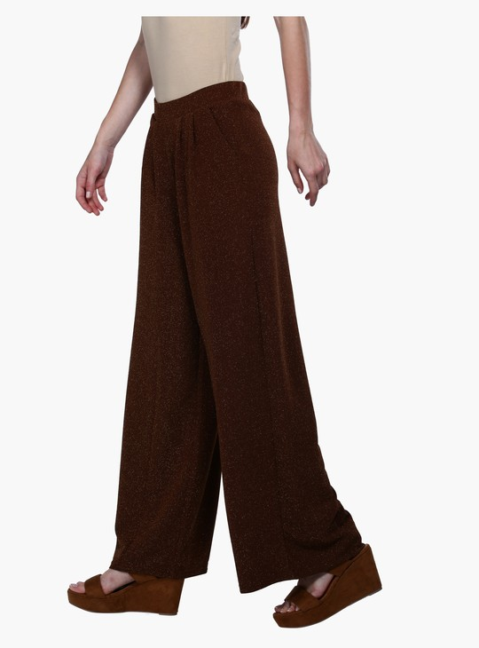 Textured Mid Rise Knit Palazzos