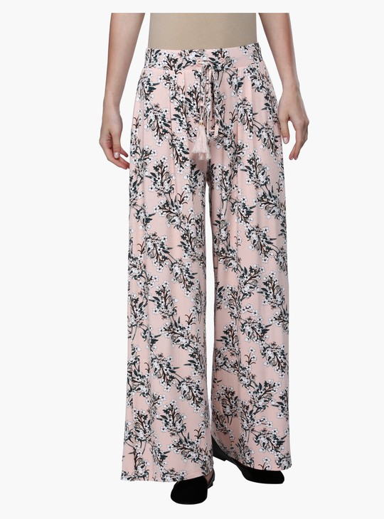 Floral Print Mid Rise Knit Palazzos