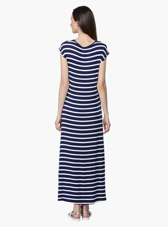 Striped Short Sleeves Maxi Dress