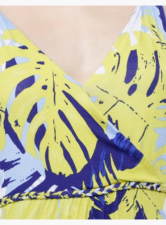 Printed Sleeveless Maxi Dress with V-Neck