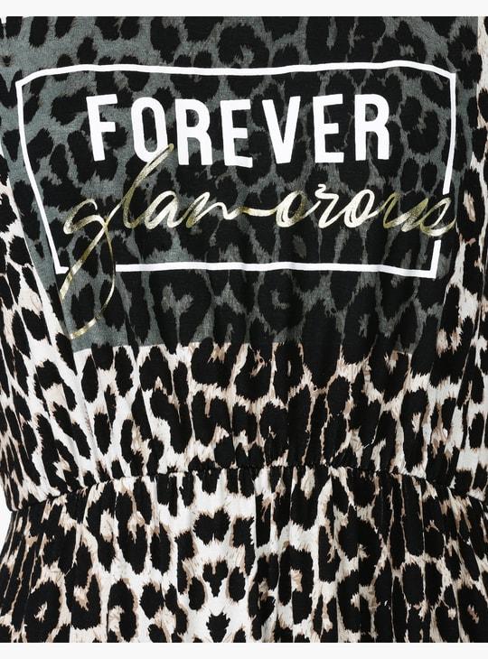 Animal Print A-line Midi Dress