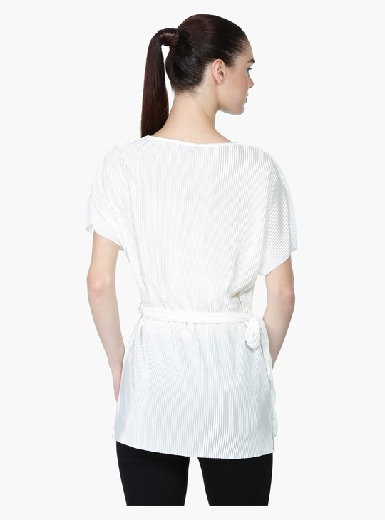 Textured Short Sleeve Top with Round Neck