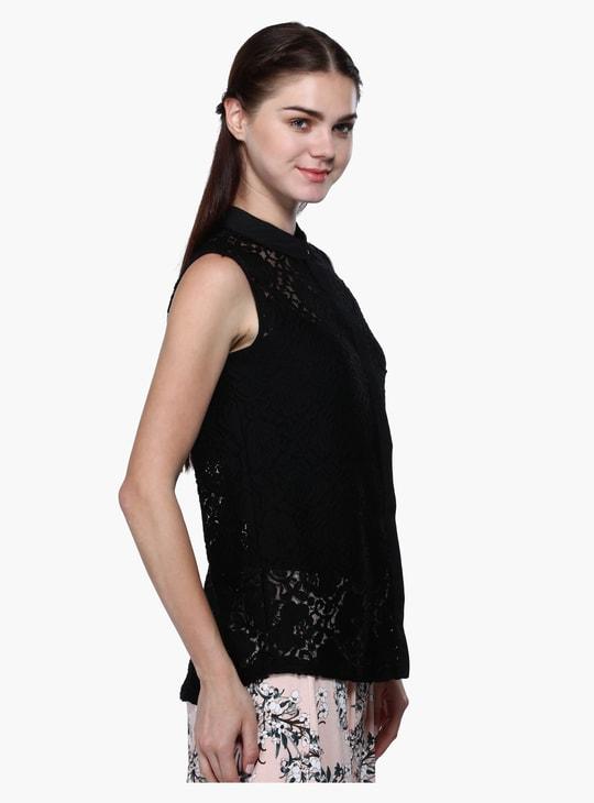 Sleeveless Lace Design Top