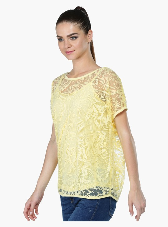 Floral Lace Tunic with Short Sleeves and Round Neck