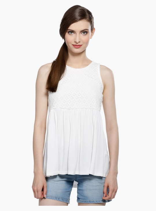 Lace Sleeveless Top with Round Neck and Tie Up Back