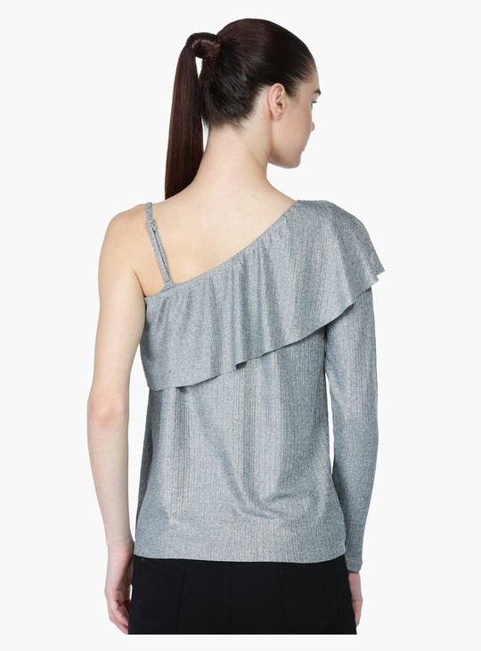 Textured Layer Top with One-Sided Sleeve
