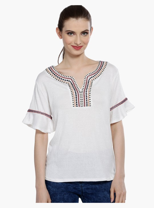 Embroidered Top with V-Neck and Frill Sleeves